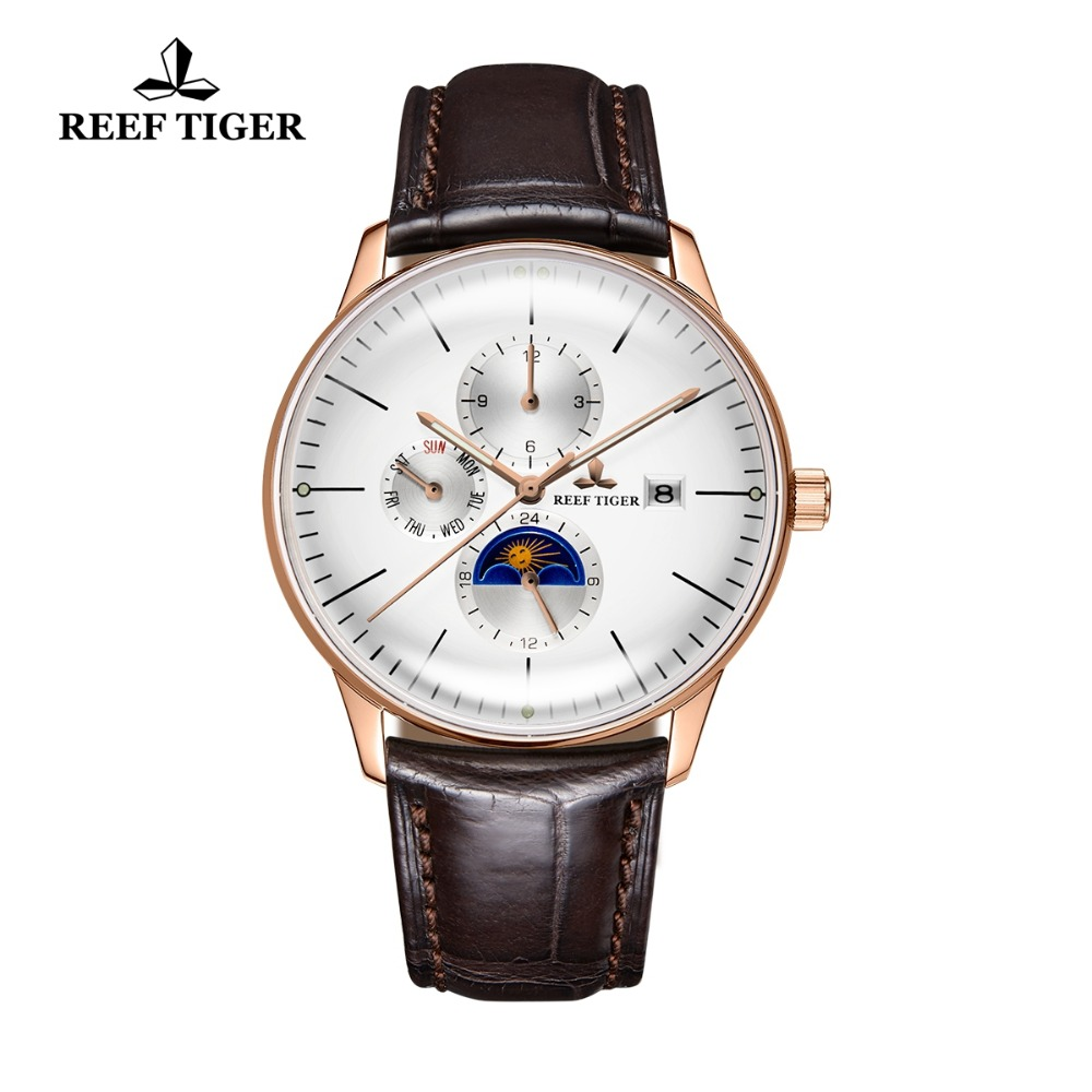 Reef Tiger/RT Luxury Casual Watches Waterproof Rose Gold Automatic Watches For Men Convex Lens Analog Watches RGA1653