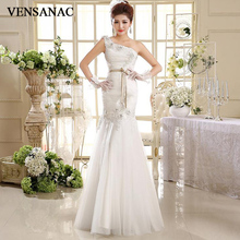 VENSANAC 2018 Crystal Flowers Appliques One Shoulder Mermaid Wedding Dresses Lace Pleat Sash Backless Bridal Gowns