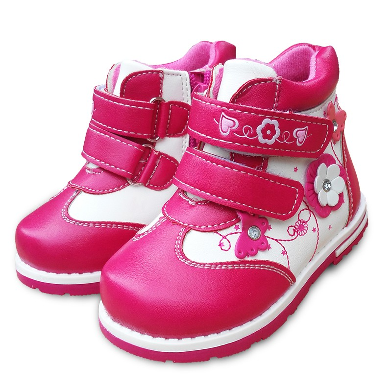 NEW Autumn 1pair Flower Ankle Leather Fashion Children Boot Kids PU Leather Baby Girl Shoes
