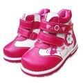 NEW Outono 1 pair Flor Moda Crianças Bota de Couro No Tornozelo, crianças PU Sapatos De Couro Do Bebê Menina