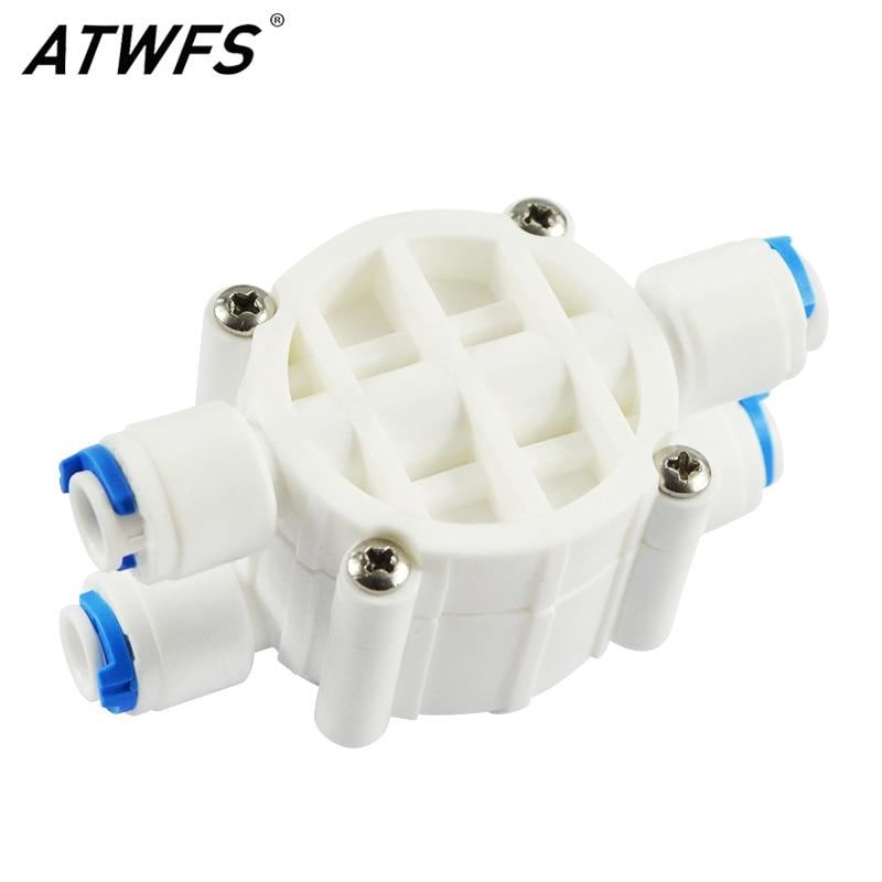 Bekomme Eins Gratis Home Temperamentvoll 1/4 automatische Abschaltung 4 Way Ventil Für Ro Umkehrosmose Teile Wasserfiltersystem 1/4 Druckregler Schnell Kugelhahn Wasser Kaufe Eins
