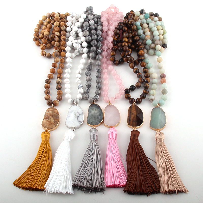 Fashion Bohemian Tribal Jewelry Natural Stones Long Knotted Moon Stone Tassel Necklaces Women Necklace Dropship