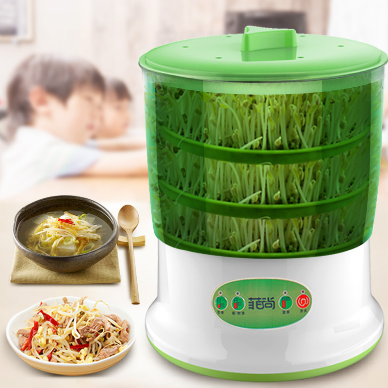 Automatic Bean Sprout Machine 2-3 Layers with Pressure Plate Large Capacity Thermostat Green Plant Seeds Growing Machine bear three layers of bean sprouts machine intelligent bean sprout tooth machine dyj b03t1