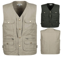 Spring and autumn thin quinquagenarian multi-pocket vest male 100% cotton water wash outdoor casual photography
