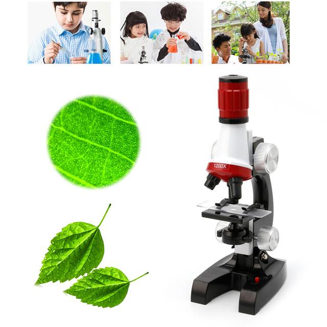 1 Unidades Niños Microscopio Educativo Kit de Ciencias en La Escuela de Aumento Fijaron Con Las Pinzas