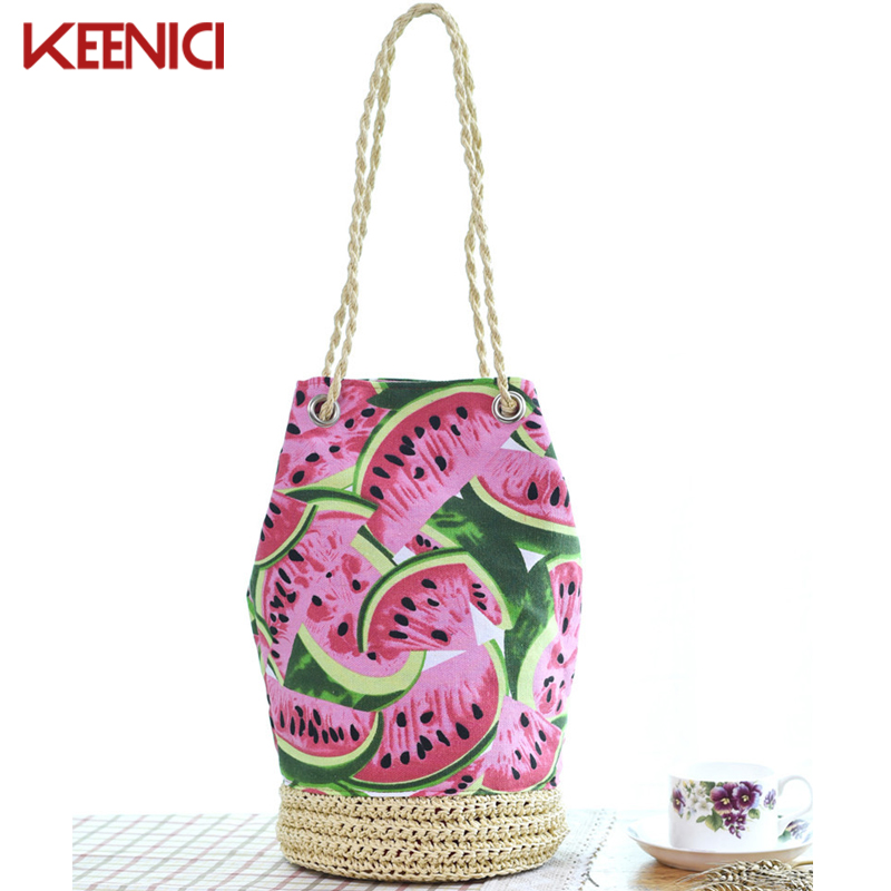 KEENICI Sackpack Straw Summer Beach Bag Fresh Fruit Watermelon Printing Tote Women Bucket Bag Canvas Shoulder Bag Woven HandBags