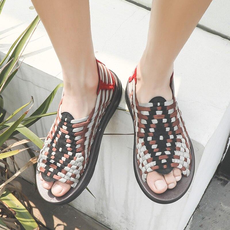 Vitriov nouveau 2019 été hommes sandales mode à la main tissage Design respirant décontracté chaussures de plage Unique marque sandales pour hommes
