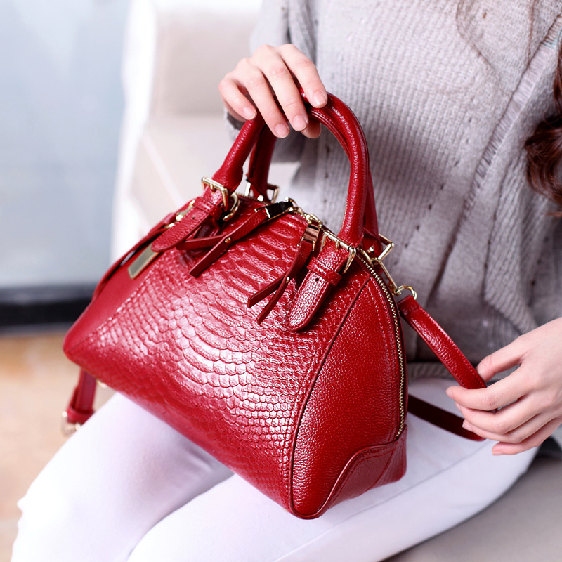 2016 Sequined Crocodile Pattern Women Leather Handbags Luxury Double Zipper Shell Cross body Bags Ladies Designer