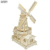 OOTDTY 1 Set Dutch Windmill 3D Wooden Model Children Three dimensional Puzzle Boys Girls Educational Toys Handmade Game Supplies