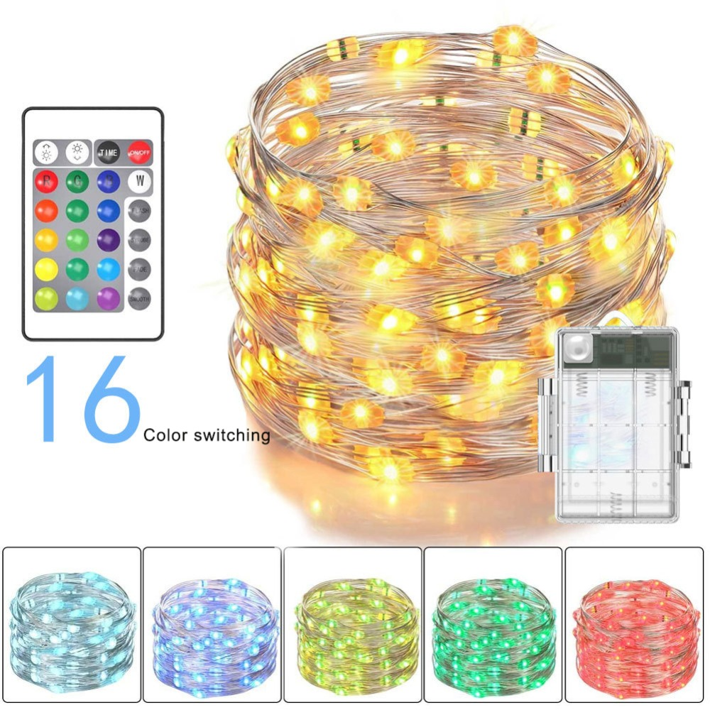 Multi Color Changing String Lights LED Fairy Lights Battery Powered With 24 Keys Remote Control And Waterproof Battery Box