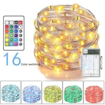 Multi Cor Mudar Luzes Da Corda Luzes De Fadas LIDERADA Bateria Alimentado com 24 Teclas do Controle Remoto e Caixa de Bateria À Prova D' Água Fios de iluminação     -