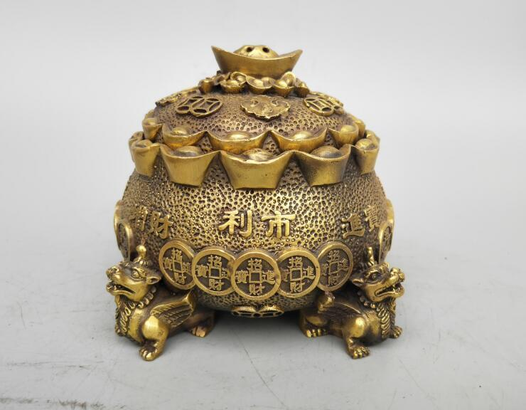Chinas Seiko carving pure brass coin Incense burnerChinas Seiko carving pure brass coin Incense burner