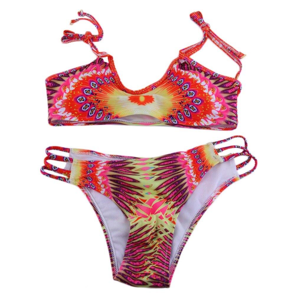 HWWomen's Digital Print Bikini Set Bra Bottom Beach Swimsuit Low Waist Swimwear Summer New Brand 2017 new summer 369 digital