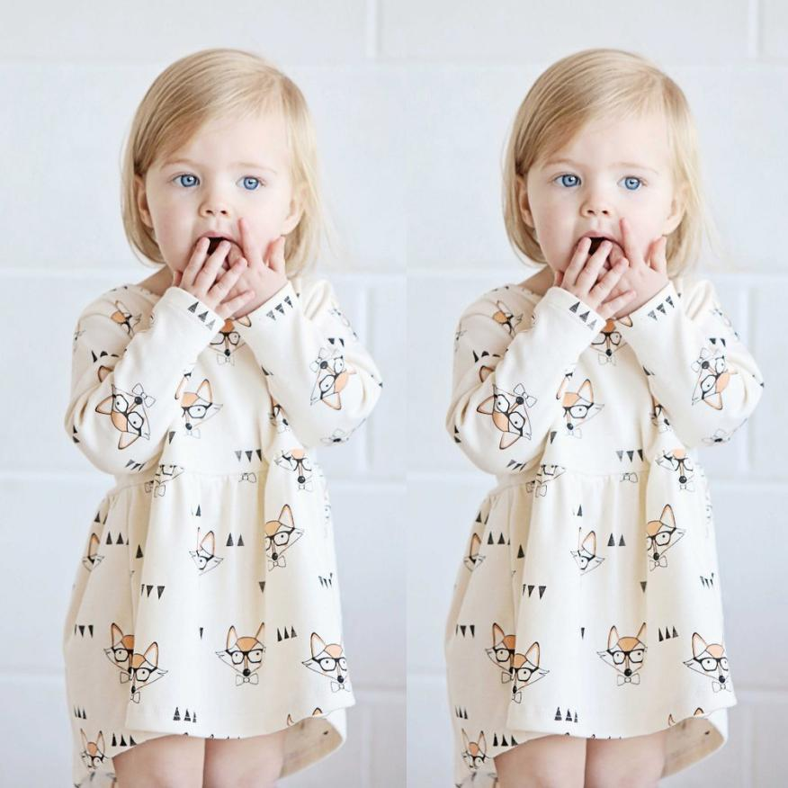 Outfits Dress Fox Print Toddler Girls Baby Kids Cartoon Lovely 15 August Stripe NEW