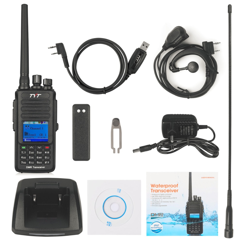 TYT MD-390 GPS UHF 400-480mhz IP67 Waterproof DMR Digital Radio with Programming Cable and CD md390 2200mAh Battery CTCSS/DCS