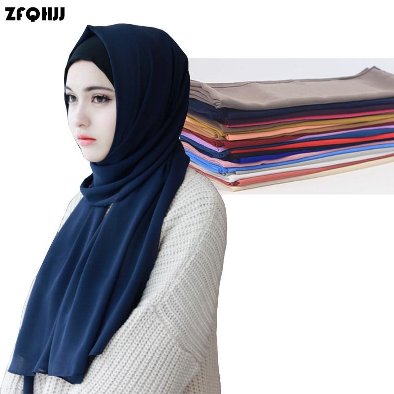 0f0a9e5cd586 ZFQHJJ Femmes Bulle de Mousseline de Soie Écharpe Musulmane Hijab Caps Tête  Revêtements Solide Châles Plaine Écharpe Hijabs Foulards 180x75 cm 47  couleurs ...