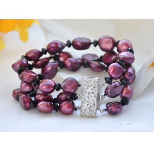 Charmant bijoux en perles de chance, 3 rangées 8 pouces 14mm Bracelet en Agates à facettes avec perle d'eau douce Baroque pourpre