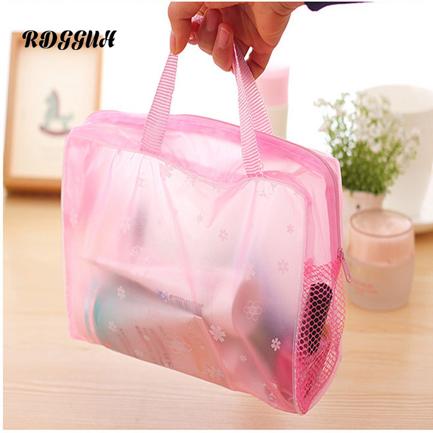 RDGGUH Travel Transparent Cosmetic Bag Zipper Trunk Makeup Case Make Up Bags Handbag Organizer Storage Pouch Toiletry Wash Bag ladsoul 2018 women multifunction makeup organizer bag cosmetic bags large travel storage make up wash lm2136 g