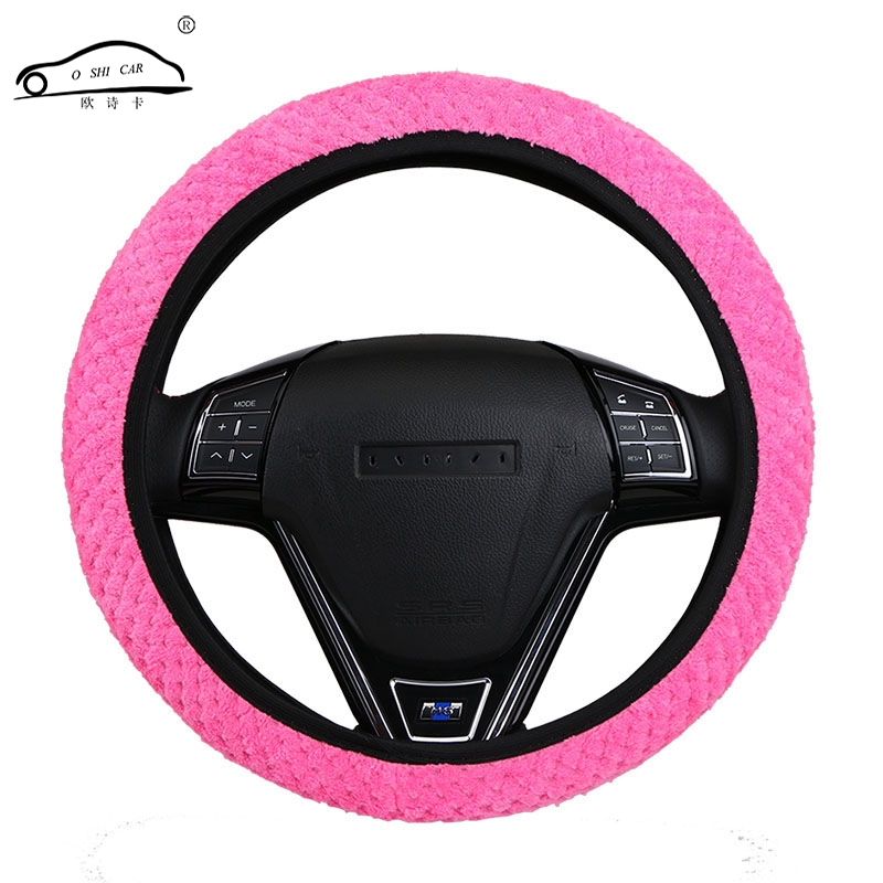 Pearl Velvet Winter Car Steering Wheel Cover / Universal Soft Warm Plush Covers for steering women men interior car girl