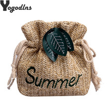 Leaves Dec Straw Buckets Bags Drawstring Shoulder Bags Letters Crossbody Bags Summer Beach Totes Cusaul Small Sac Ladies Purses(China)