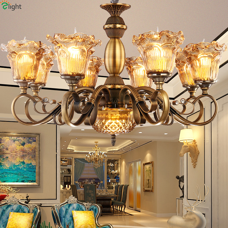 Europe Lustre Copper Metal Led Chandeliers Lamparas Glass Shades Dining Room Led Chandelier Lighting Led Hanging Lights Fixtures