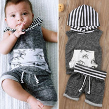 2pcs Toddler Kids Baby Boy Sleeveless T-shirt Tops+Shorts Pants Outfit Dinosaur Clothes Set