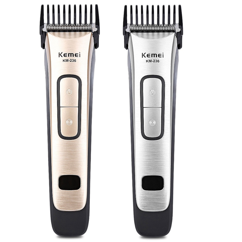 Kemei-236 Electric Hair Trimmer Rechargeable Hair Clipper Stainless Steel Blade Portable Cordless Adjustable Clipper Digital