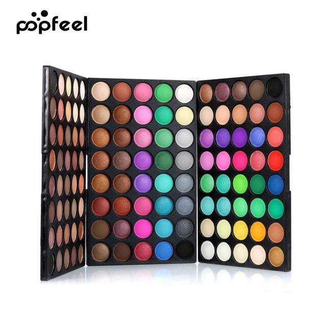 POPFEEL 120 colores resplandecer de sombra de ojos paleta de reflejo y brillo desnudo hacen arriba paleta Kit cosmético