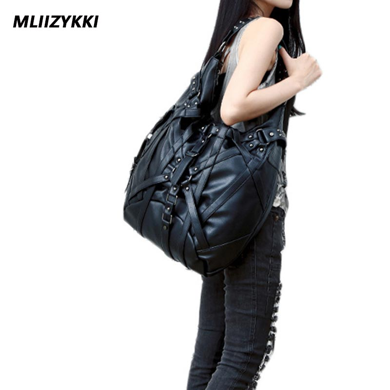 MLIIZYKKI Women Messenger Bags Designer Motorcycle Punk Style Rivet Tote Bag Crossbody Bags for Ladies Leather HandBags free shipping 2017 new designers women leather bags handicraft rivet jacket punk style messenger bags shoulder crossbody bag go