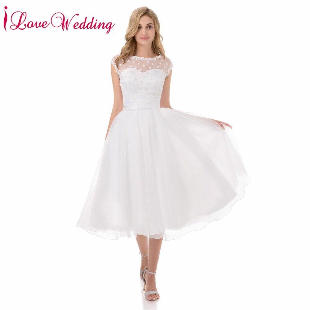 Hot sale 1950s retro polka dotted short wedding dresses for Short wedding dress sale