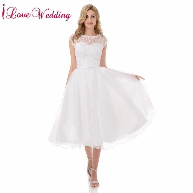 Hot Sale 1950s Retro Polka Dotted Short Wedding Dresses White ...