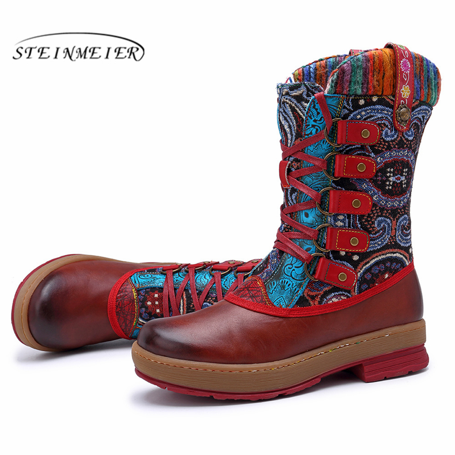 Retro Invierno A Brown Cómoda Casual Tobillo Cuero Mano Zapatos Botas Suave Calidad Vaca De Genuino Marrón Mujeres Hecho Marca 2019 Diseñador Las wqxtTg10q