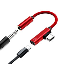 Worallymy 2 in 1 Earphone Type C to 3.5mm Adapter Audio Jack Headphones Cable Sync Charging Cable Type C to Jack Aux