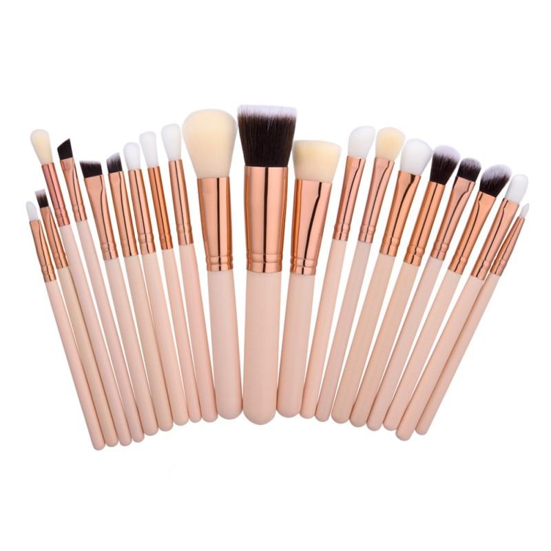 20 pz Oro Rosa Spazzole di Trucco Naturale di Legno Professionale di Strumenti di Pennello Cosmetico In Polvere Ombretto Make Up Brush Kit D2