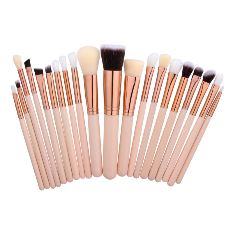 20Pcs Rose Gold Makeup Brushes Set Natural Wood Professional Cosmetic Brush Tools Powder Eyeshadow Make Up Brush Kits D2 10 15 pcs professional mermaid makeup brush set eyeshadow lip brush eye beauty tools for women cosmetic brushes kits