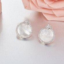 SLJELY Mode Marke Design Echt 925 Sterling Silber Runde Shell Micro Cubic Zirkon CZ Stern Stud Ohrringe Frauen Partei Schmuck