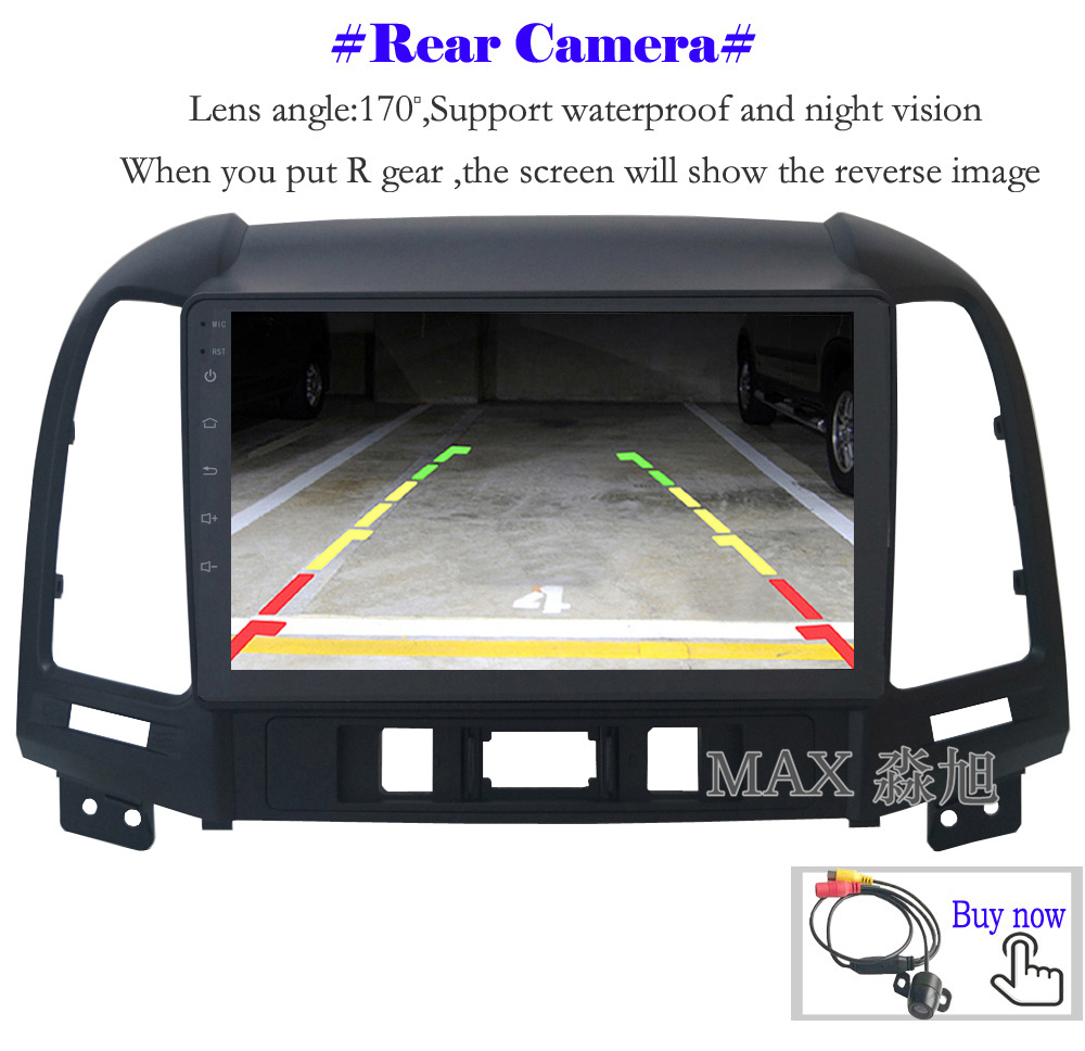 Perfect MAX Android 8.1 2G 32G 8 Core Car DVD Player for Hyundai santa fe 3/4holes with 2.5D+IPS Screen car stereo radio RDS Maps swc 13