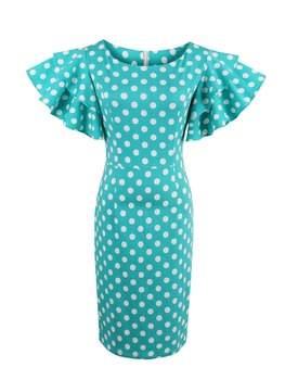 Vintacy Women Bodycon Petal Sleeve Dress Blue Polka Dot Knee-length Dresses Lady Summer Vintage Elegant Ruffle Pencil Dress polka dot