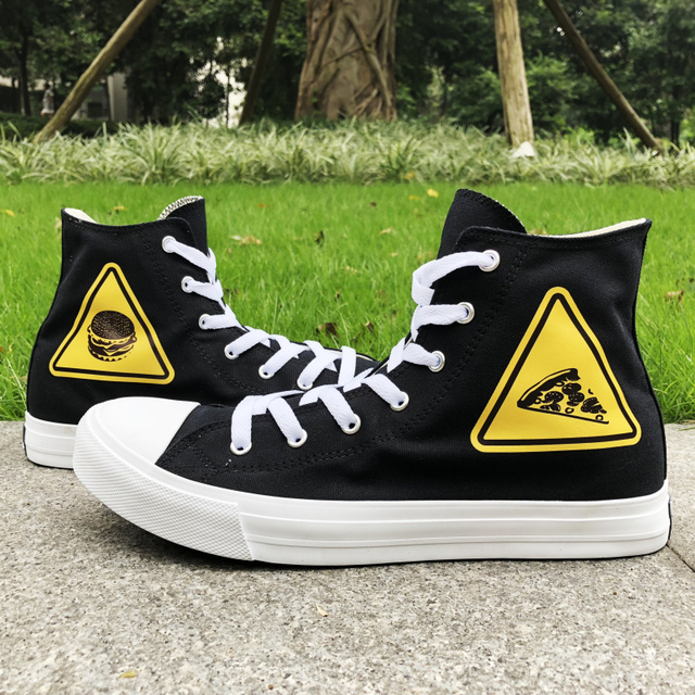 9c51cd674ff702 Wen Original Canvas Black Shoes Hamburger Pizza Traffic Warning Signs  Design Woman Man Athletic Shoes Sneakers White High Tops