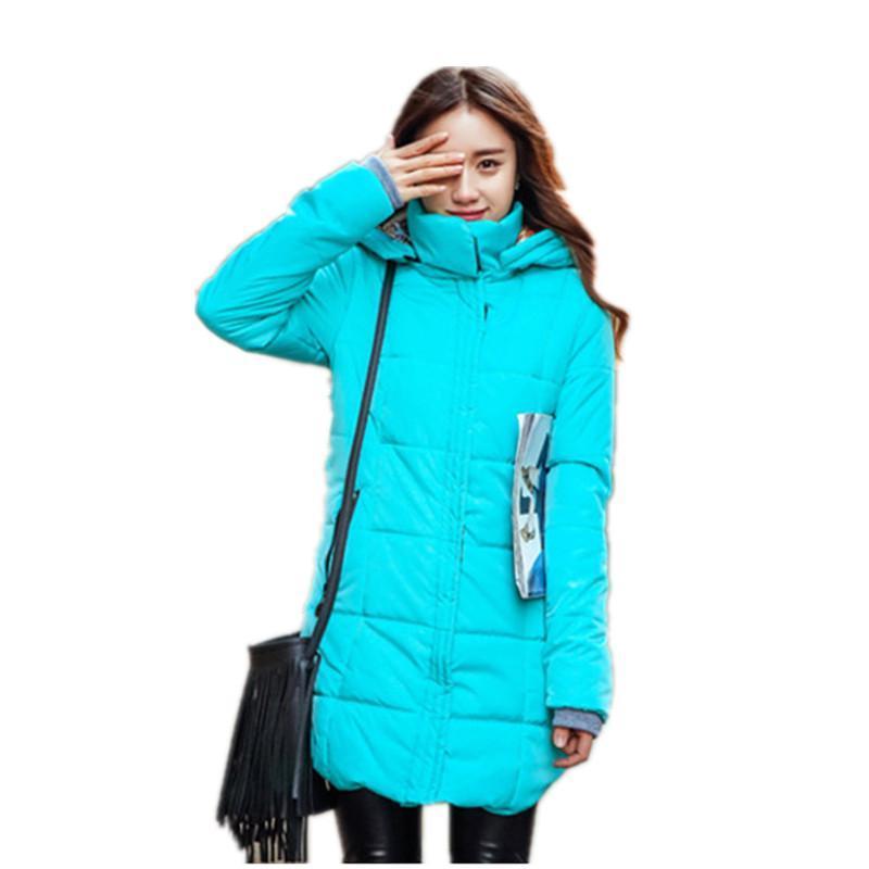 Autumn winter jacket Women Thick Hooded Cotton-Padded Jacket Plus size Candy color Slim Down Cotton coat women Parka 6XL