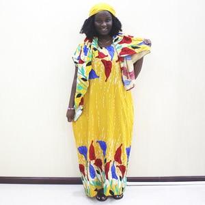Image 1 - Moda Afrika Bayanlar Elbise Sarı Pamuk Baskı Rahat Afrika Dashiki Elbise