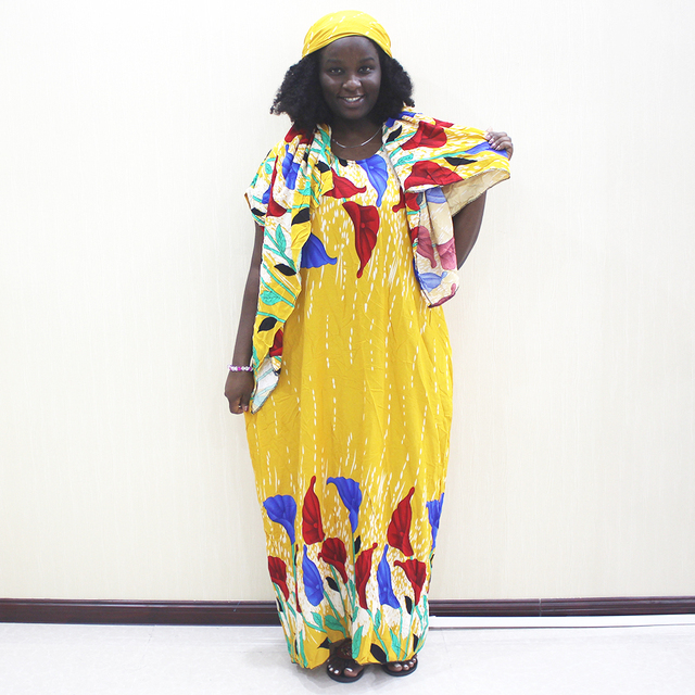 Moda Afrika Bayanlar Elbise Sarı Pamuk Baskı Rahat Afrika Dashiki Elbise