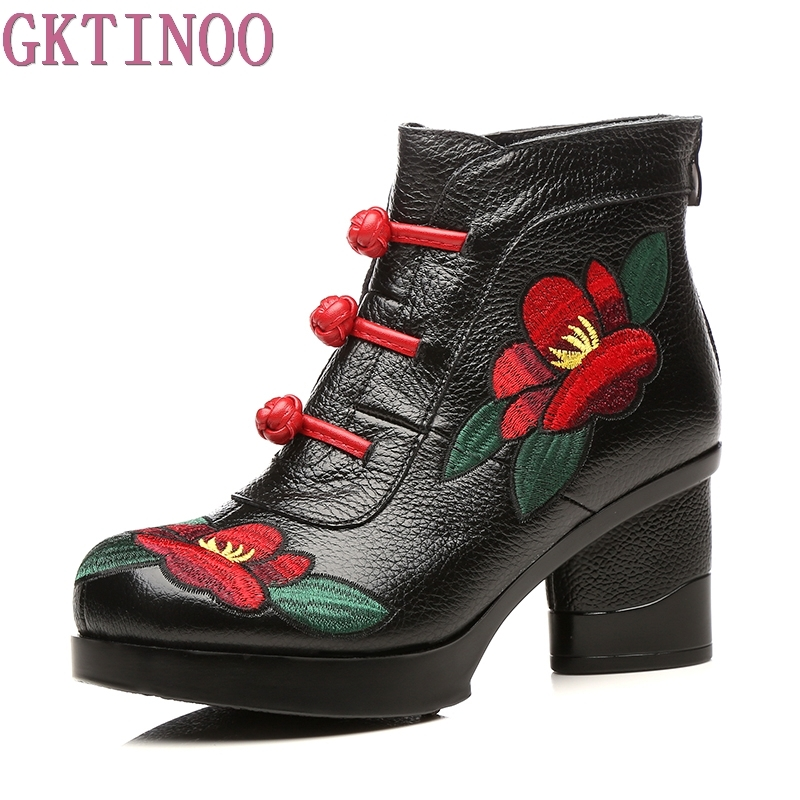 GKTINOO Floral Ankle Boots For Women Autumn Winter Genuine Leather Womens Boots Retro Handmade Comforable Shoes High Heels