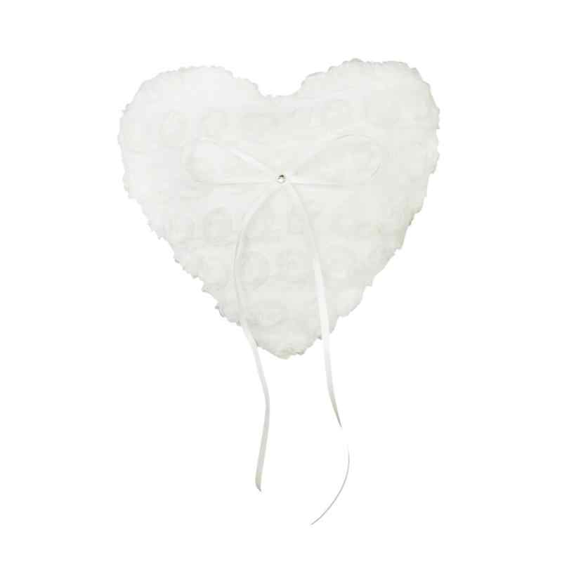 15*17cm Lace Flower Bridal Wedding Heart Pocket Ring Bearer Pillow Romantic Wedding Heart Shaped Box Ring Bead Rose Cushion