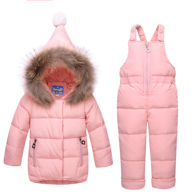 Winter Clothes Costumes Suit Children's 95% Down Jackets Clothing Sets Baby Girls Coat Colorful Overalls Kids Outerwear For Girl