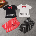 2016 summer baby boys & girls clothing set cotton bow short T-shirt+dot pants 2pcs kids children baby girl clothes set suit