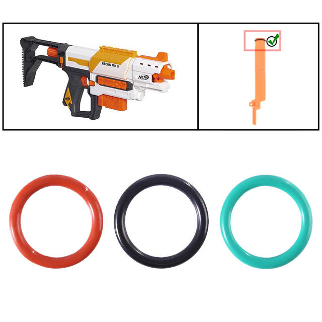 3Pcs Air Seal Nozzle Replacement Upgraded Sealed O Ring for Nerf N-Strike  Elite Rampage Blaster - Red + Green + Black