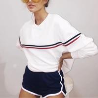 Women Colorful Striped O Neck Loose Hoodies Sweatshirt Street Style Loose Hoodie