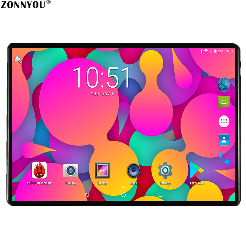 2019 Tablet PC 2.5D Screen Glass 10.1 Inch Android 7.0 3G Call 4GB 64GB OcTA Core OTG GPS FM Bluetooth WiFi Dual SIM Tablet PC