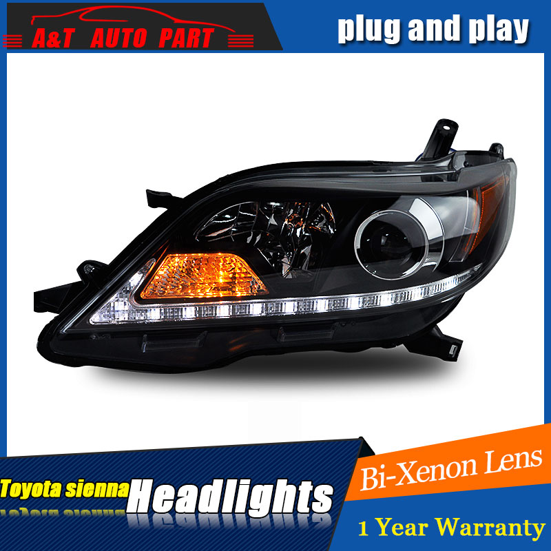 Auto part Style LED Head Lamp for Toyota Sienna led headlights 2011 for Sienna drl H7 hid Bi-Xenon Lens angel eye low beam auto clud style led head lamp for benz w163 ml320 ml280 ml350 ml430 led headlights signal led drl hid bi xenon lens low beam